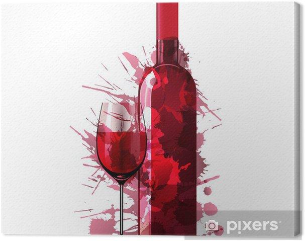 Quadro em Tela Bottle and glass of wine made of colorful splashes - Decalque de parede