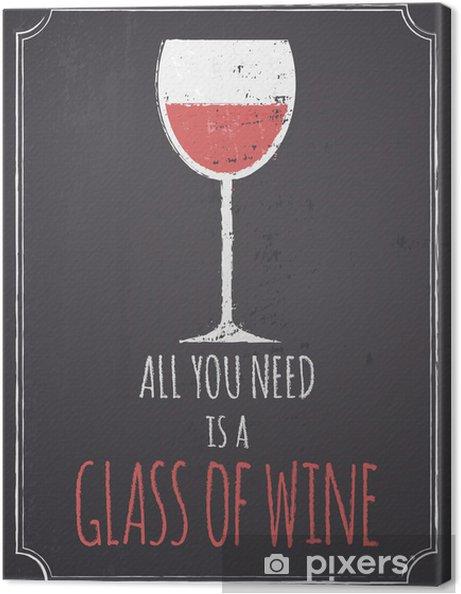 Quadro em Tela Chalkboard Red Wine Design - Estilos
