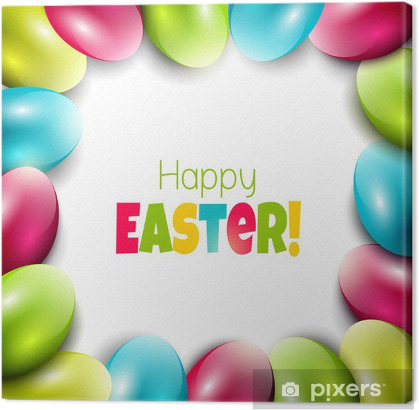 Quadro em Tela Colorful Easter background with eggs and place for text - Páscoa