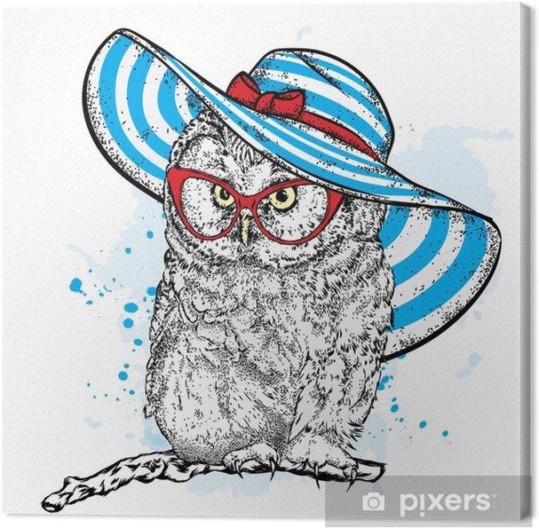 6f41a791d4e04 Quadro em Tela Coruja engraçada em um bonito chapéu de praia e óculos de sol.  ilustração vetorial para um cartão postal ou cartaz
