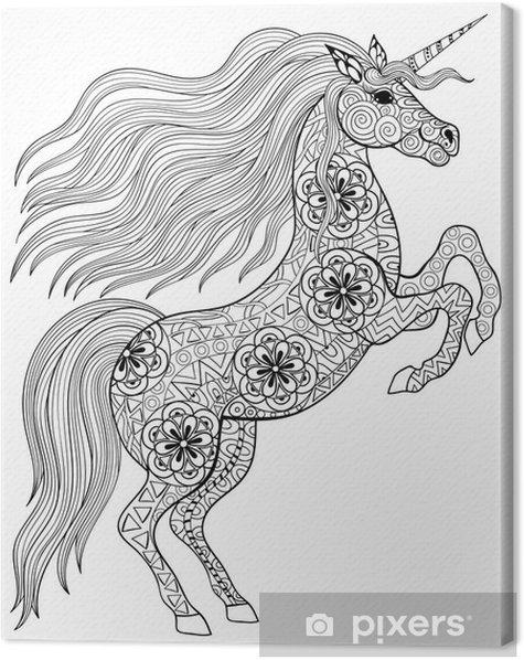 Quadro Em Tela Desenho Magica Unicorn Para Adulto Anti Stress