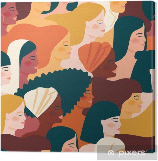 Quadro em Tela Dia internacional das mulheres. Vector sem costura padrão com mulheres diferentes nacionalidades e culturas. - Pessoas