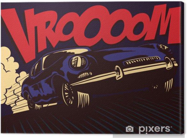 95a1673ae3 Quadro em Tela Estilo pop quadrinhos quadrinhos estilo esporte rápido carro  dirigindo a toda velocidade com onomatopeia vrooom vector illustration  design de ...