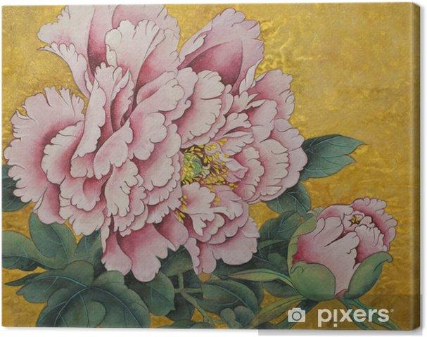 Quadro em Tela Flor peônia cor de rosa sobre um fundo dourado - Plantas e Flores