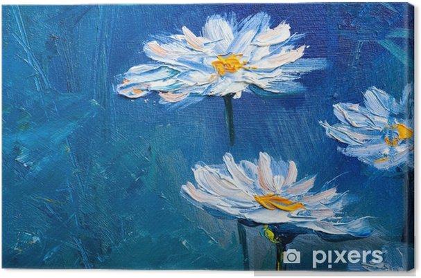 Quadro em Tela Flores de margarida de pintura a óleo - Hobbies e Lazer