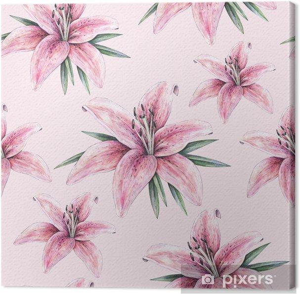 quadro em tela flores rosa do lírio isoladas no fundo cor de rosa