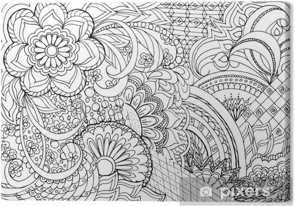 Quadro Em Tela Flores Zentangle E Mandalas Pixers Vivemos Para