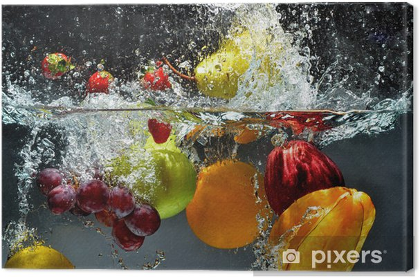 Quadro em Tela Fruit and vegetables splash into water -