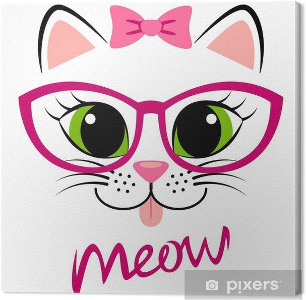 486b503fdd659 Quadro em Tela Gatinho branco fofo com arco e óculos rosa. Cópia feminina  com gatinho para t-shirt