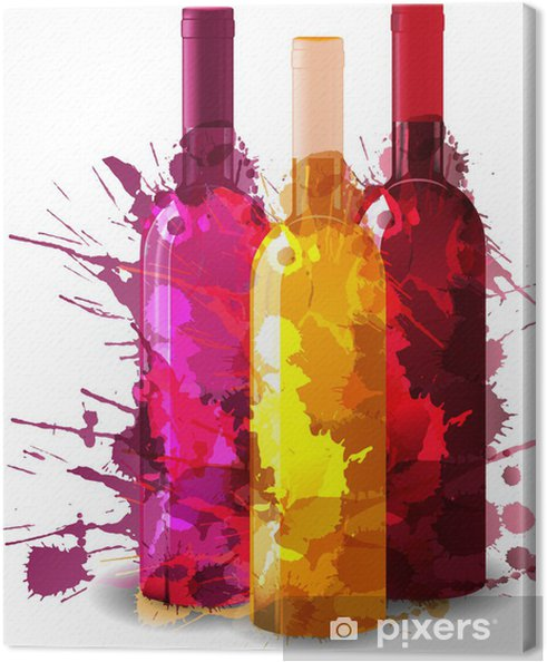 Quadro em Tela Group of wine bottles vith grunge splashes. Red, rose and white. - Decalque de parede