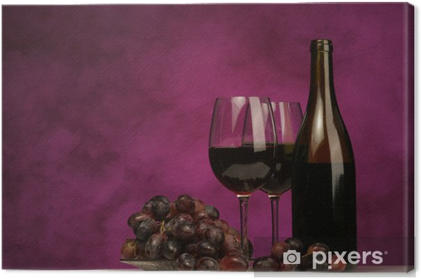 Quadro em Tela horizontal of wine bottle with glasses and grapes - Vinho