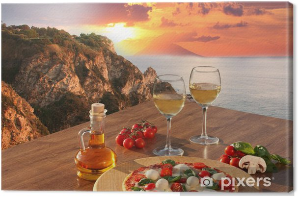 Quadro em Tela Italian pizza and glasses of wine against Calabria coast, Italy - Temas