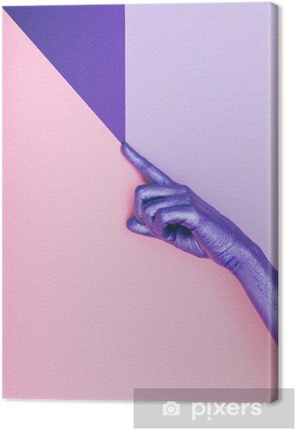 Quadro em Tela Moda mão roxa perolada. conceito ultra violeta. mínimo pastel. beleza e moda -
