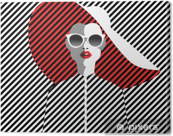 3a4b5ee72 Quadro em Tela Mulher jovem e bonita com óculos escuros e chapéu, estilo  retrô. arte pop. férias de verâo.