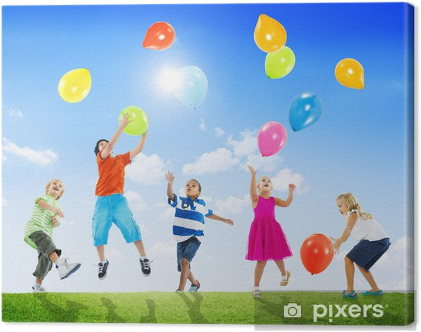 Quadro em Tela Multi-Ethnic Children Outdoors Playing Balloons Together