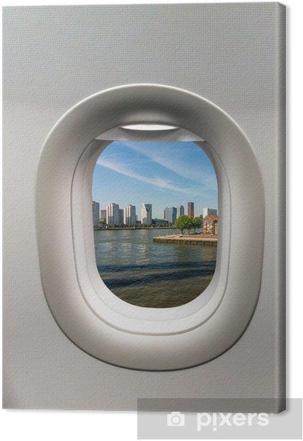 b2dc0a496 Quadro em Tela Olhando para fora da janela de um avião para o Rotterdam