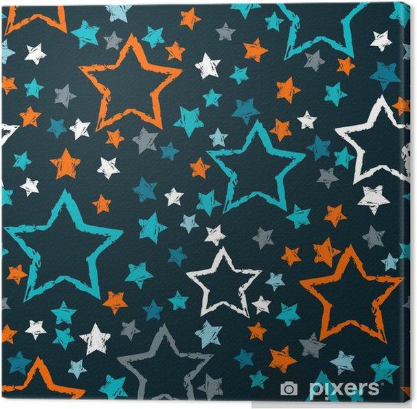 8a0f9b7765 Quadro em Tela Padrão de estrelas sem costura abstrata. grunge estrelas  urbanas em cores preto