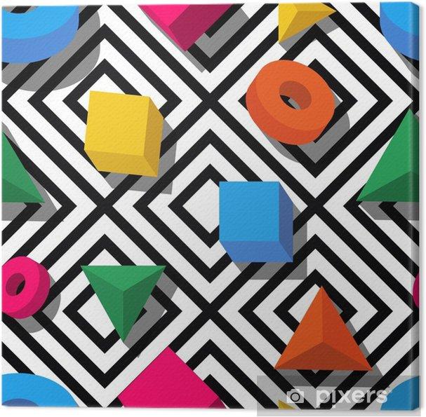 514a4d1445 Quadro em Tela Padrão vetorial sem costura. Formas geométricas  multicoloridas 3d estilizadas em fundo preto e branco. Design para  impressão de moda ...