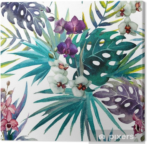 Quadro em Tela pattern orchid hibiscus leaves watercolor tropics - iStaging