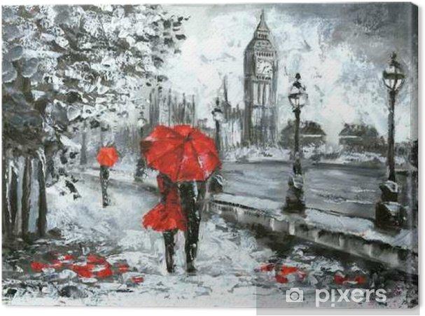 Quadro Em Tela Pintura A óleo Vista Para A Rua De Londres Artwork Preto Branco E Vermelho Ben Grande