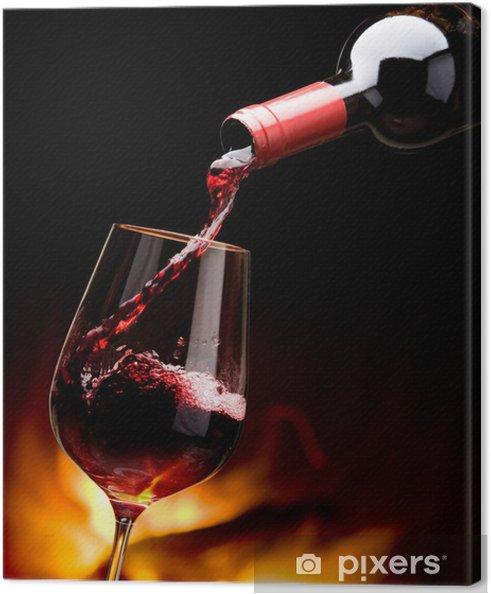 Quadro em Tela pouring wine by the fireplace - Vinho