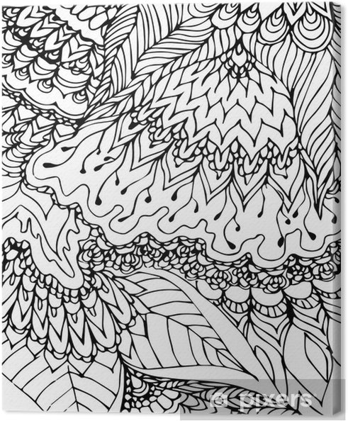 Quadro Em Tela Preto E Branco Modelo Desenho Do Doodle Padrão Desenhado à Mão Abstrato Preto Linhas Curvas E Folhas No Fundo Branco Pano De Fundo