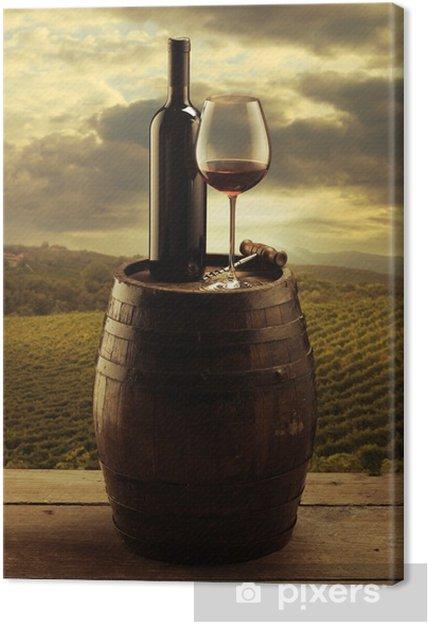 Quadro em Tela Red wine vineyard -