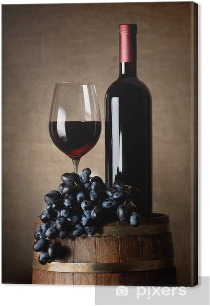 Quadro em Tela Red wine with barrel and grapes - Vinho