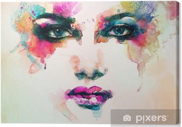 Quadro em Tela Retrato da mulher. aquarela abstrata. fundo moda - Pessoas