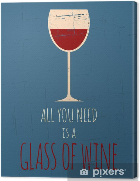 Quadro em Tela Retro Red Wine Poster - Temas