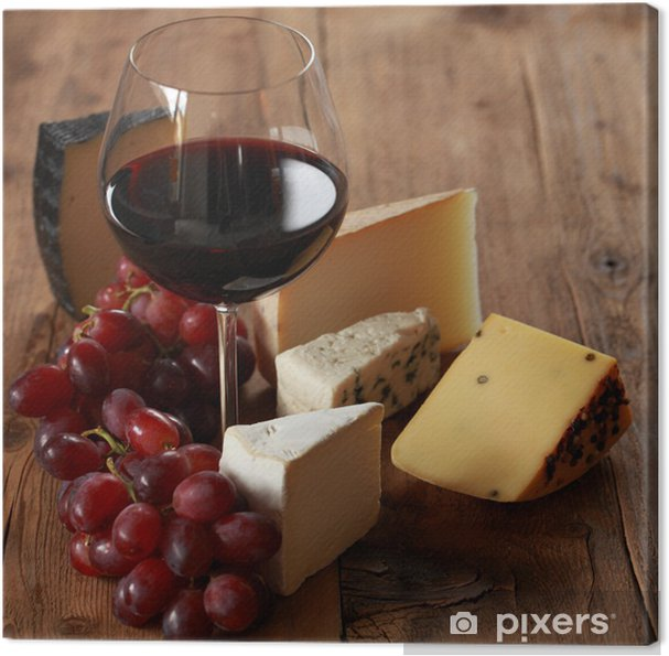 Quadro em Tela Rotwein mit verschiedenen Käsesorten - Queijo