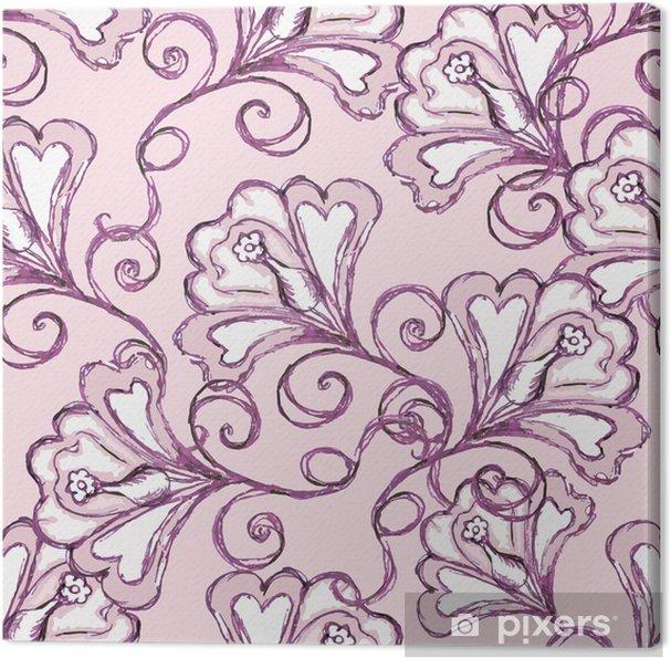 Quadro em Tela seamless pink background. floral ornament. - Flores