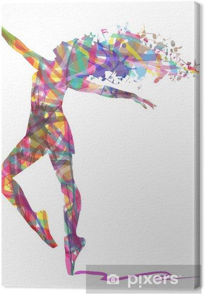 Quadro em Tela Silhueta de bailarina composto por cores - Recursos Gráficos