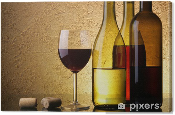 Quadro em Tela Still-life with three wine bottles and glass - iStaging