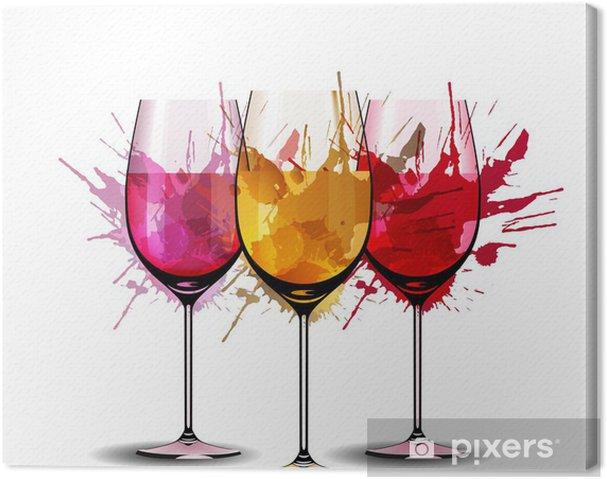 Quadro em Tela Three wine glasses with splashes - Decalque de parede