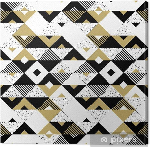 5b9d395ac Quadro em Tela Triângulo geométrico abstrato padrão dourado sem costura.  fundo vetorial de padrão triangular preto