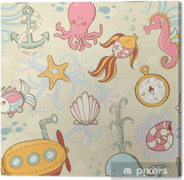 Quadro em Tela Underwater creatures cute cartoon seamless pattern - Oceania