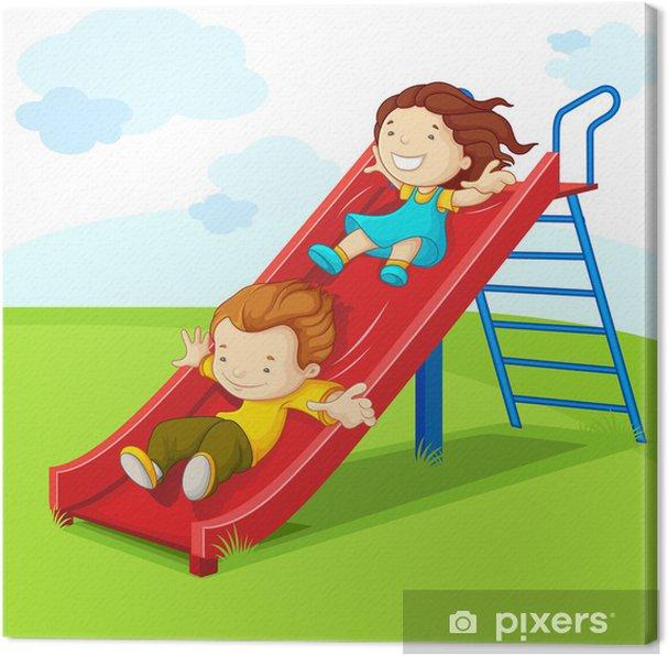 Quadro em Tela vector illustration of kids enjoying on slide