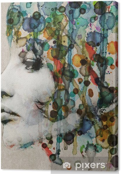 Quadro em Tela Watercolor female profile - Estilos