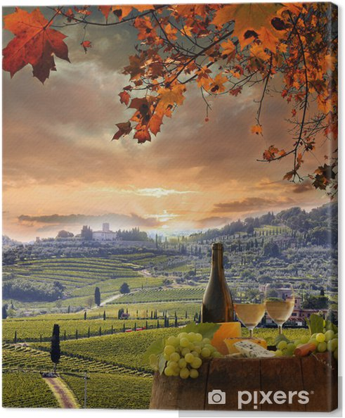 Quadro em Tela White wine with barell in vineyard, Chianti, Tuscany, Italy - Europa