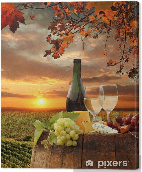 Quadro em Tela White wine with barell in vineyard, Chianti, Tuscany, Italy - Temas