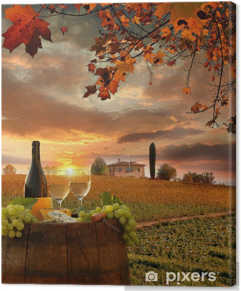 Quadro em Tela White wine with barell in vineyard, Chianti, Tuscany, Italy - Temas