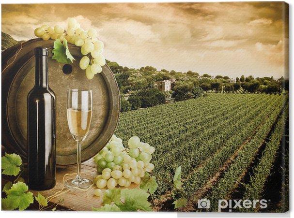 Quadro em Tela Wine and vineyard in vintage style - Temas