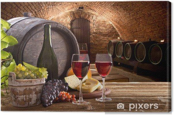 Quadro em Tela Wine bottle and glasses on wooden table - Estilos