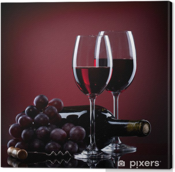 Quadro em Tela Wine in glasses with grape and bottle on red - Culinária