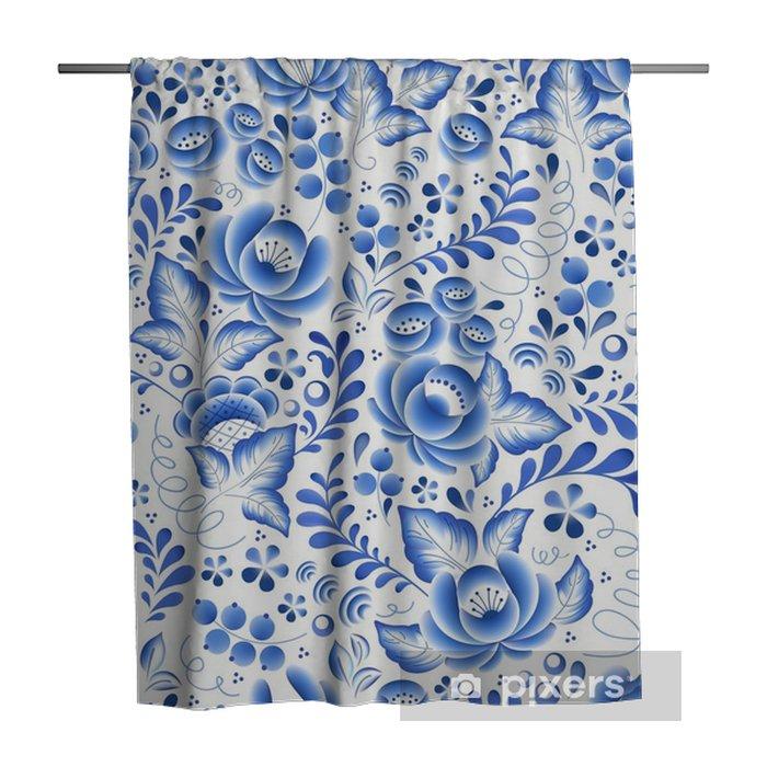 Rideau de douche Fleurs bleues ornement belle folklorique de porcelaine russe floral. - Passe-temps et loisirs