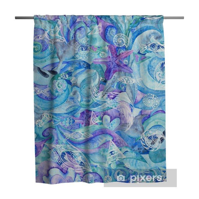 Rideau de douche Modèle marin abstrait aquarelle bleue - Paysages