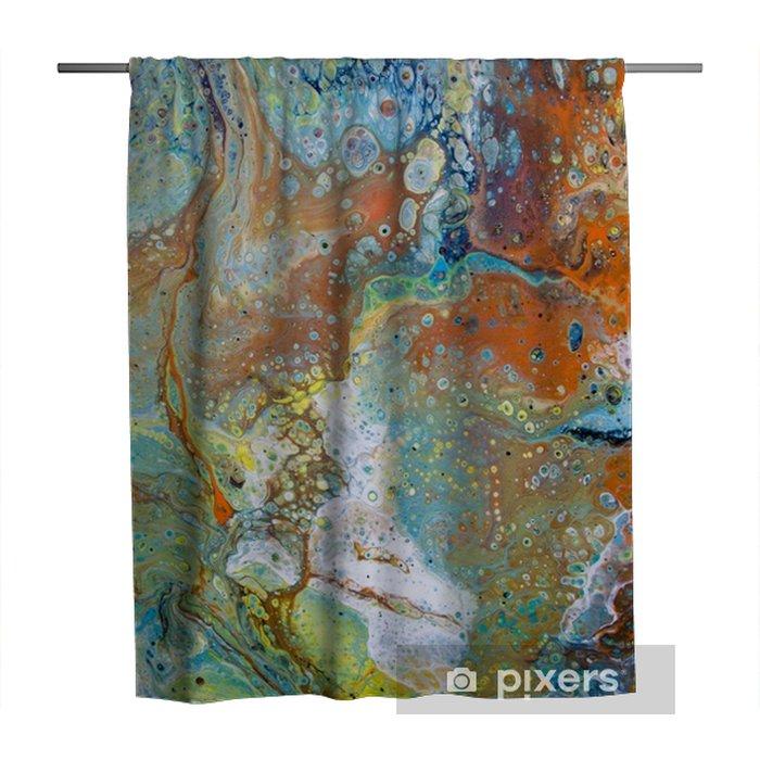 Rideau De Douche Peinture Abstraite Jaune Bleu Vert Orange Brun