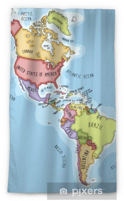 Bresil Mexique Carte.Rideau Occultant Carte De Vecteur Dessine A La Main Des Ameriques Cartographie Coloree De Styles De Bandes Dessinees D Amerique Du Nord Et Du