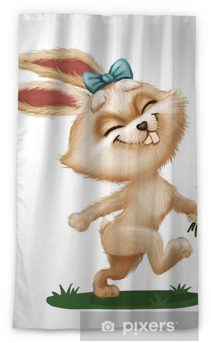 Rideau Occultant Heureux Mignon Lapin Furry Avec Fleur Personnage Animal Dessin Anime Qui Traverse Le Champ Vert Mascotte Animee Dessines A La